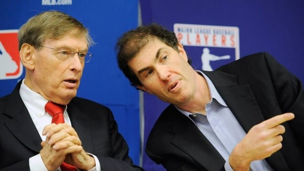 Major League Baseball Commissioner Bud Selig, left, and Major League Baseball Players Association Executive Director Michael Weiner on November 22, 2011 in New York City.