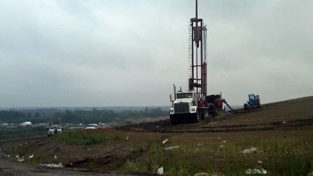 Drilling is going ahead at Saskatoon's landfill. The methane wells will later be connected to a generator.