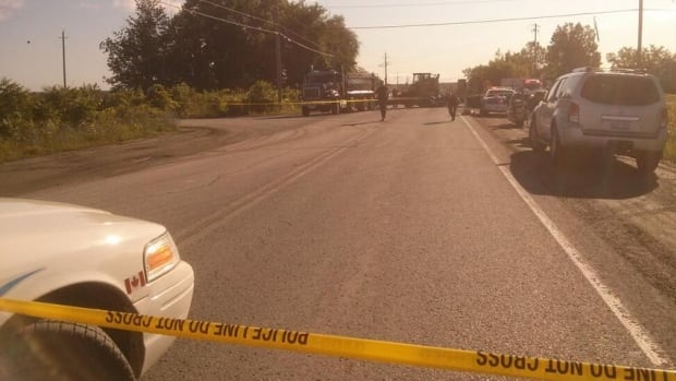 A motorcyclist was killed after his bike collided with the truck pictured above early Thursday in rural south Ottawa.