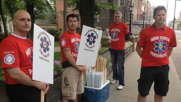 Some of Nova Scotia's 800 ground and air paramedics marched to Province House on Tuesday morning.