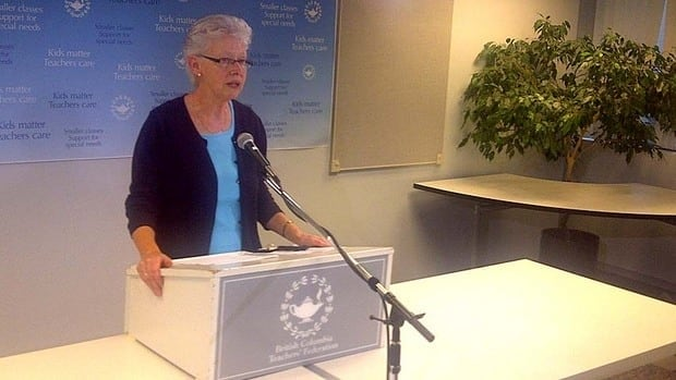 BCTF President Susan Lambert announces the vote result in Vancouver Friday night.