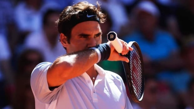 Roger Federer gestures during his semifinal loss to Federico Delbonis during the German Tennis Championships on Saturday.