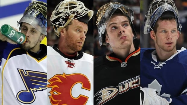 Goalies (from left to right) Jaroslav Halak, Miikka Kiprusoff, Jonas Hiller, and James Reimer have all been sidelined by injuries.