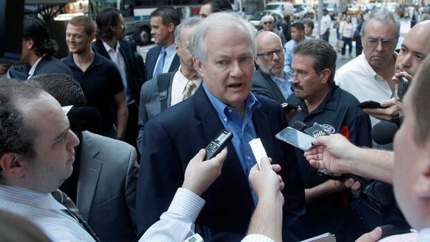 NHL Players Association executive director Donald Fehr speaks to reporters as he arrives at NHL headquarters on Wednesday in New York City. The NHL and the players' association have resumed negotiations in an effort to avoid a lockout this weekend.