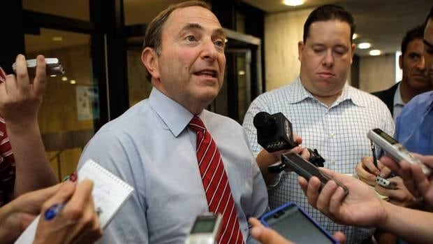 NHL Commissioner Gary Bettman speaks to reporters about on-going labour talks last week.