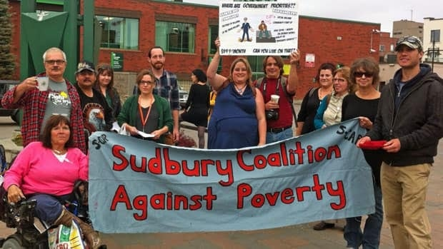 The Sudbury Coalition Against Poverty recently held a demonstration to raise awareness and funds. Group members say they want to address panhandling downtown, as well as other social problems in the city.