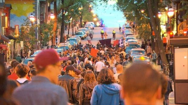 More than a thousand people were in the streets Wednesday night in Montreal in several separate rallies that eventually merged.
