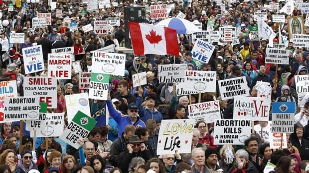 Anti-abortion protesters take part in the National March for Life demonstration on Parliament Hill in Ottawa May 10. One of Canada's most active anti-abortion protesters has lost an appeal of a criminal charge to the Supreme Court of Canada.