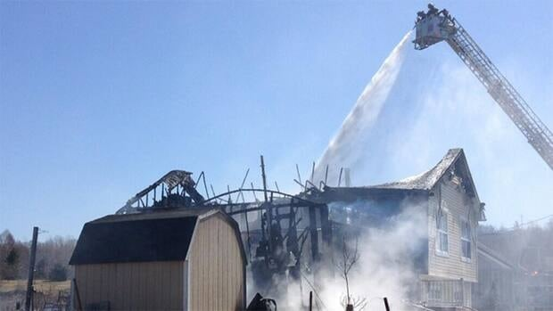 The fire has been contained, though firefighters remain at the scene watching for hot spots.