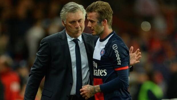 Carlo Ancelotti, left, coached David Beckham and Paris Saint-Germain to a Ligue 1 title in 2013.