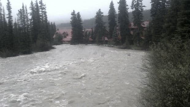 High water levels have been reported throughout the Bow Valley parkway, including the Pipestone River pictured here near the Post Hotel in Lake Louise, Alta.