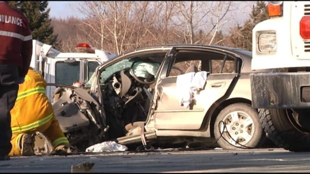 Police investigate a violent crash near Beauceville, Que. that killed one woman and left two men with serious injuries.