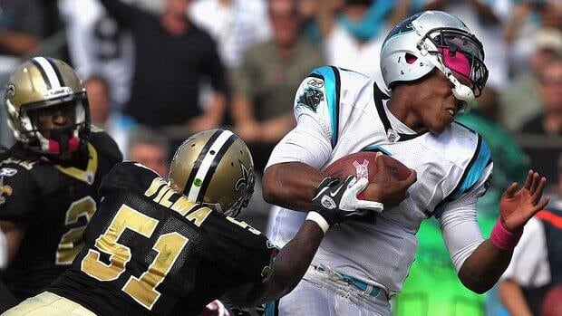 Saints LB Jonathan Vilma, shown here tackling Carolina QB Cam Newton, has been suspended for the 2012 season for his role in the New Orleans Saints' bounties program.
