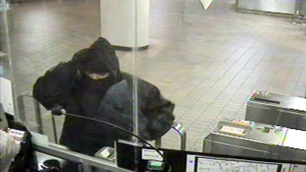 Toronto police said this image shows one of three times that a suspect held up the same subway station. During the third instance, Sunday night, he shot the fare collector.