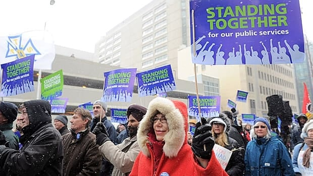 Members of the Public Service Alliance of Canada demonstrate support for public services in Ottawa in March. Retired federal employee benefits will be on the negotiating table this year.