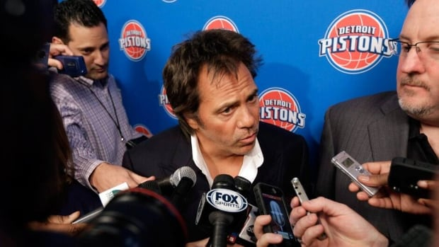 Detroit Pistons owner Tom Gores speaks to reporters before his team's game on Monday.