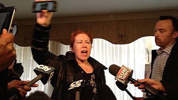 Maret Tsarnaeva, the Toronto aunt of Boston marathon bombing suspects Tamerlan and Dzhokhar Tsarnaev, demands evidence of their guilt, speaking to reporters Friday.