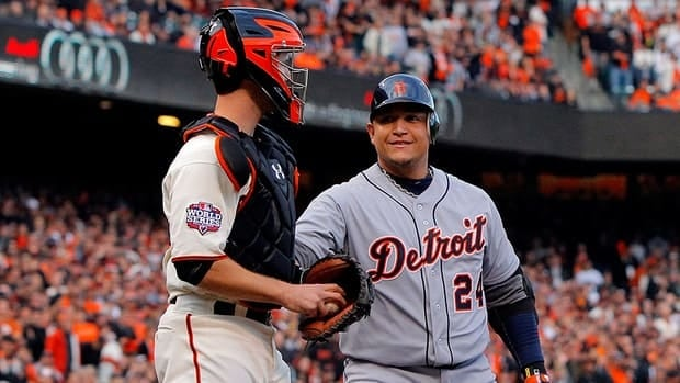 See how Major League Baseball players congratulated AL and NL MVP winners Buster Posey, left, and Miguel Cabrera, right, after Thursday's announcements.