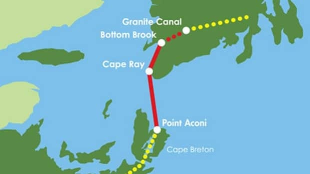 The Maritime Link is a transmission system that includes 180-kilometre subsea cables that will deliver Labrador-produced hydroelectric power from Cape Ray, N.L., to an area near Point Aconi in Cape Breton.