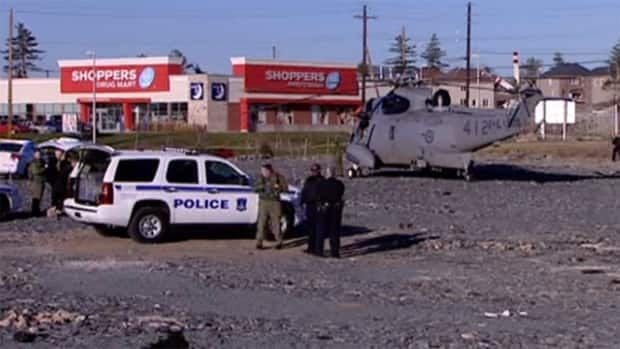 A Sea King helicopter from CFB Shearwater made a controlled landing next to a Sobeys parking lot in Bedford, N.S. last November.