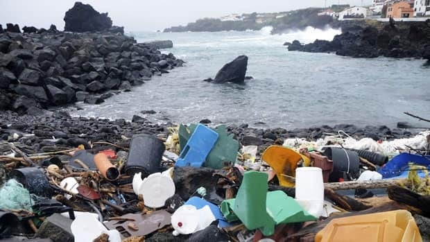A coastal area of the Azores Islands in Portugal is shown littered with plastic garbage.