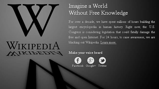 Wikipedia's message, which appeared Wednesday to protest a proposed anti-piracy bill before the U.S. Congress.