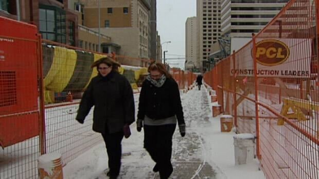 Jasper Avenue between 100th and 102nd Streets has become a labyrinth for vehicles and pedestrians while work continues on the reconstruction project.