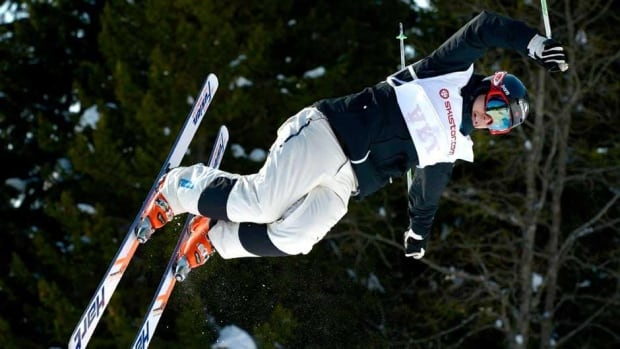Canada's Alex Bilodeau, shown here competing Friday, won the dual moguls competition on Saturday in Are, Sweden.