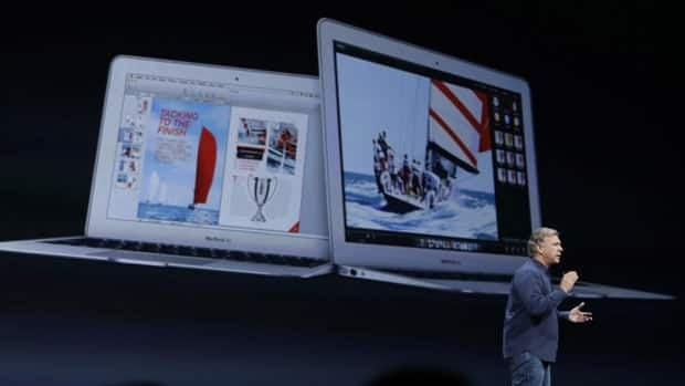 Phil Schiller, the senior vice president of worldwide marketing at Apple, introduces the new MacBook Air laptops during the keynote address of the Apple Worldwide Developers Conference on Monday in San Francisco.