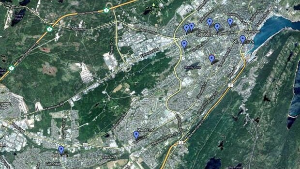 This map pinpoints the businesses hit during a spree of armed robberies in the St. John's area.
