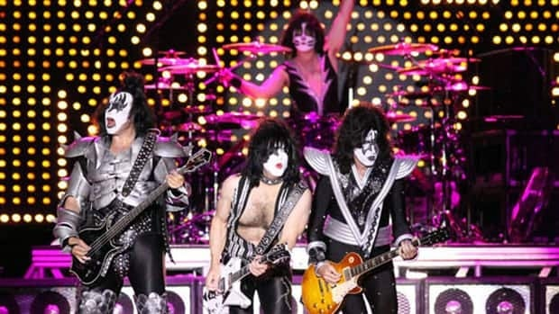 Gene Simmons (left) and Kiss bandmates play to a crowd of 30,000 at Ottawa's Bluesfest in 2009.