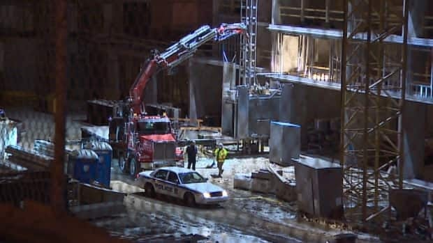 A worker at a Halifax construction site suffered serious injuries Tuesday evening after a two-tonne motor fell on him.