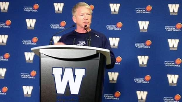 Winnipeg Blue Bomber coach Tim Burke speaks to the media on Tuesday.