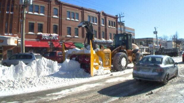 Crews were still working to clear snow from downtown Charlottetown on Monday afternoon.
