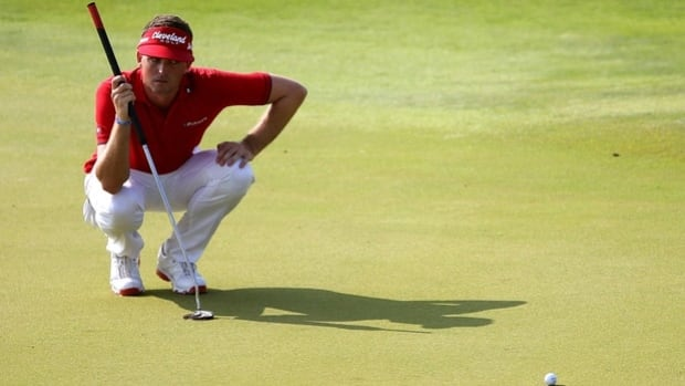 Keegan Bradley lines up a putt en route to winning the PGA Championship on Aug. 12.