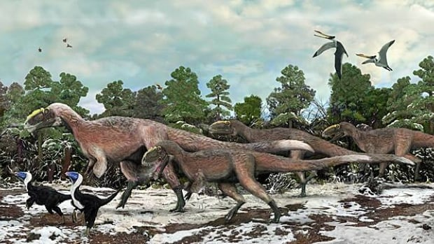 Yutyrannus, the larger dinosaur in the artist's impression above, is 40 times more massive than the largest feathered dinosaur known before, Beipiaosuarus, which is the smaller dinosaur shown.