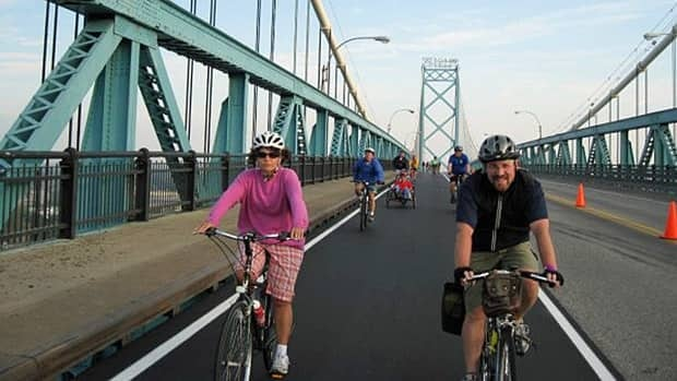 Bike the Bridge is the only day of the year pedestrians of any kind are allowed on the Ambassador Bridge.