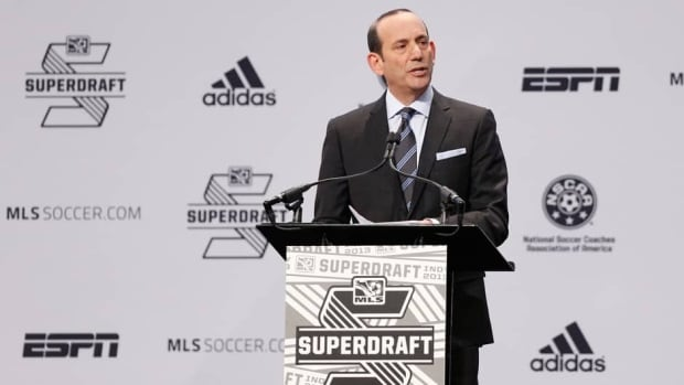 MLS commissioner Don Garber prior to the 2013 MLS SuperDraft at the Indiana Convention Center on January 17, 2013 in Indianapolis, Indiana.