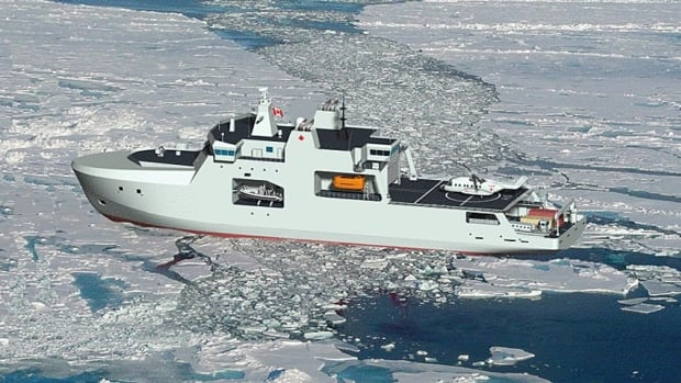 This artist's rendition, provided by the Canadian government, shows the Arctic offshore patrol ship currently being designed and built by Irving Shipbuilding Inc. in Halifax.