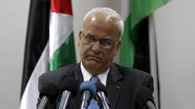 Chief Palestinian negotiator Saeb Erekat attends a news conference in the West Bank city of Ramallah on Monday.