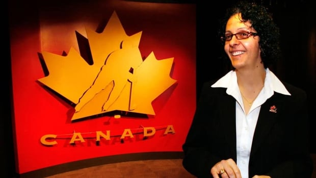 Danielle Goyette, shown here in 2008, is a current assistant coach with the Canadian women's hockey team and former national squad member.