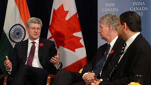 Prime Minister Stephen Harper met with business leaders in New Delhi on Monday.