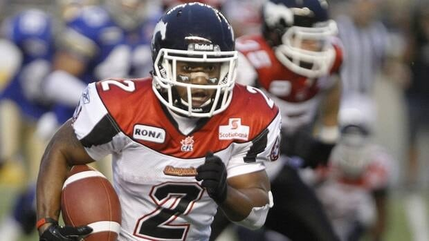 Calgary Stampeders' Larry Taylor won a pair of Grey Cups playing for the Alouettes in 2009 and 2010.