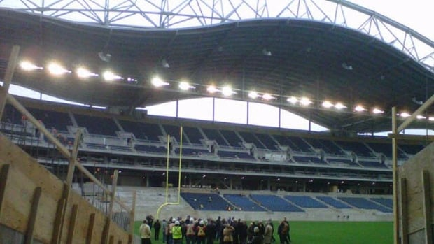 BBB Stadium Inc. is a consortium that oversees construction of Investors Group Field, which has faced cost overruns and construction delays leading up to its opening earlier this year. (CBC)