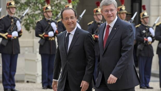 French President Francois Hollande welcomed Prime Minister Stephen Harper this week, even as the PM's caucus colleagues slammed perceived European excesses.