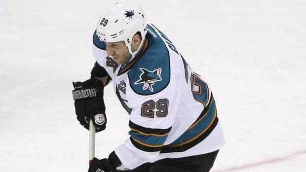 San Jose Sharks forward Ryane Clowe was suspended pending a hearing with the NHL Monday.