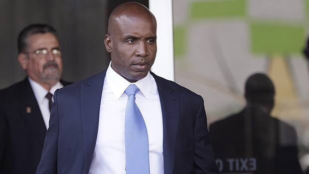 Barry Bonds leaves the federal courthouse in San Francisco after a hearing in his trial.