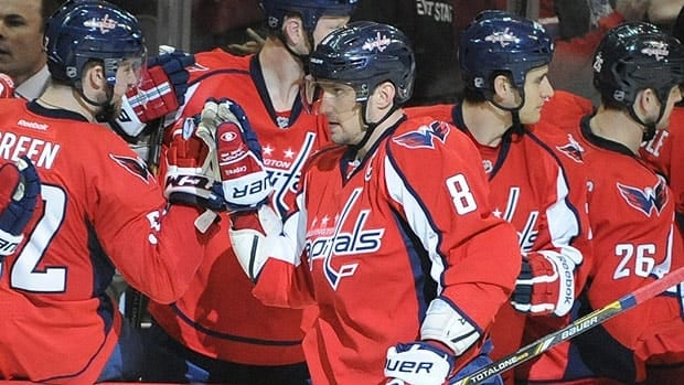 Alex Ovechkin got congratulated at the Washington bench for seven goals last week.