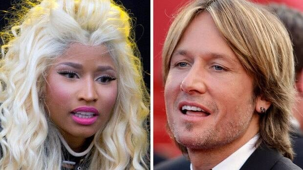 Rapper-singer Nicki Minaj, left, and country star Keith Urban will join the American Idol judging panel Fox announced Sunday.