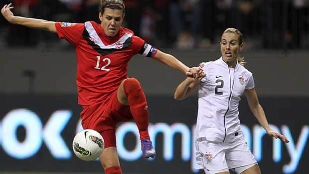 Christine Sinclair, seen trapping while Heather Mitts of the U.S. looks on in a January game in Vancouver, will try to lead Canada past the group stage.